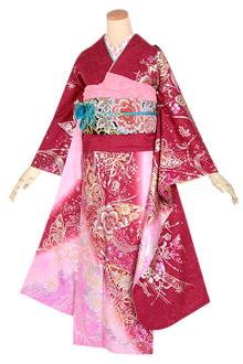 R1629 赤・ピンク 金銀花と蝶☆(絹)