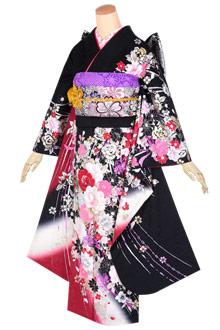 R1630 赤黒 煌き花蝶(絹)