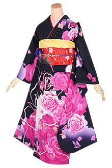 R1633 黒 薔薇と蝶々☆(絹)