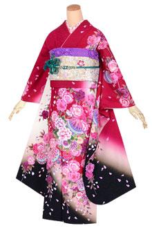 R1634 赤 シックな枝垂れ桜☆(絹)