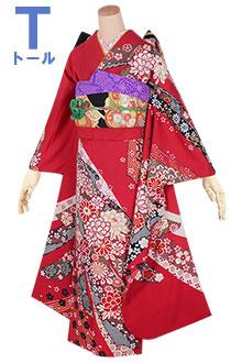 R1655 赤 熨斗と花文様☆(絹)