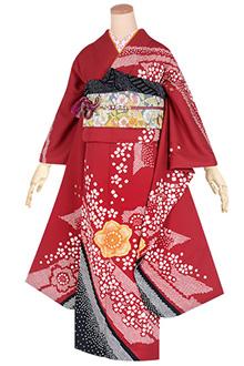R1661 赤 絞り染め 桜文☆(絹)(s)