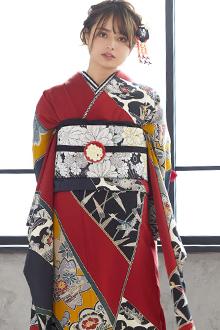 R1665 墨色×赤 斜取り 花鳥風景柄☆(絹)