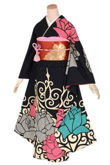 R1670 黒 レトロモダン薔薇☆(絹)