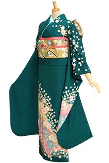 R170 青緑 流水桜☆(絹)