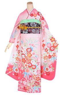 R1702 【訳あり】ピンク 藤に流水花文☆(R1685)