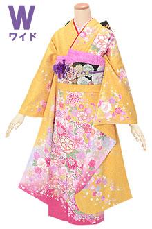 R1704 黄色 花と毬☆(絹)(w)