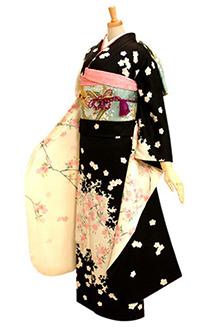 R172 【訳あり】白×黒 桜シルエット☆(絹)