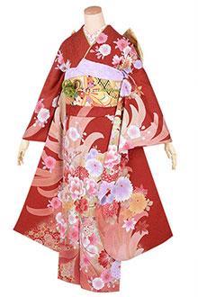 R1741 赤 大輪菊に花扇(絹)(R1742)