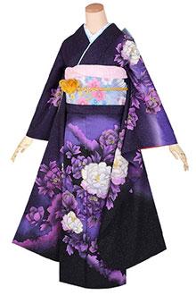 R1745 【訳あり】黒紫 牡丹花(絹)