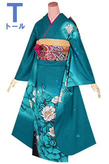 R1746 【訳あり】青緑 大輪花文様(絹)