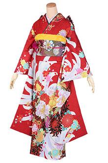 R1750 赤 菊牡丹文様(絹)