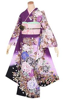 R1758 【訳あり】紫 牡丹に菊☆(R1518)