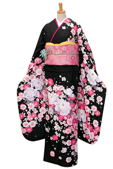 R1765 【訳あり】黒 白牡丹と八重桜(R300)☆