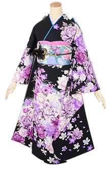 R1784 黒 紫牡丹☆(絹)