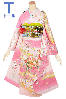 R1788 ピンク 格子雲取流水に花籠☆(絹)