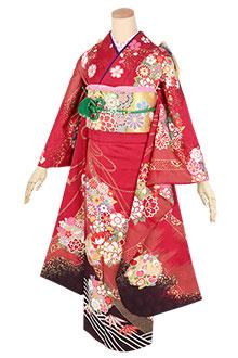 R1791 赤 御簾に花の丸☆(絹)