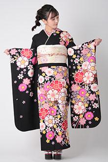 R1792 黒 扇桜☆(絹)