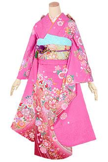 R1794 ピンク 飾り紐に花と毬☆(絹)