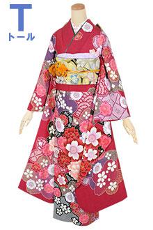 R1795 赤 御簾に花の丸☆(絹)
