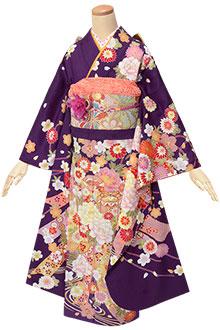 R1796 【訳あり】紫 熨斗に貝桶と花☆(絹)