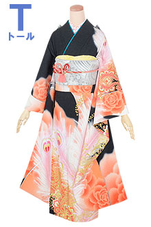 R1797 黒 薔薇と孔雀羽根☆(絹)