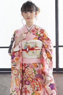 R1817 ピンク 桧扇に花(絹)