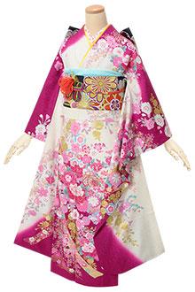 R1824 白×赤紫 花に毬☆(絹)