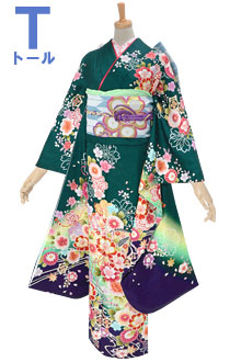 R1834 緑 流水に菊桜と毬(絹)