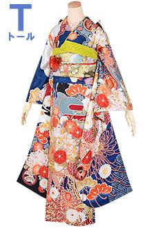 R1847 【訳あり】青 雪輪に糸菊(絹)(R1753)