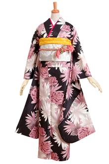 R186 黒 ピンクの菊とマーガレット☆(R639)