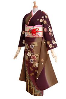 R197 【訳あり】茶色と紫 桜と笹模様☆(絹)(s)