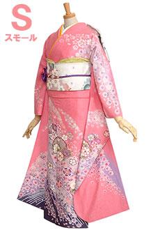 R243 ピンク 雪輪と菊桜吹雪☆(SS)(絹)