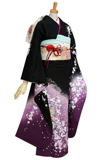 R244 黒紫ぼかし しだれ桜に短冊(絹)