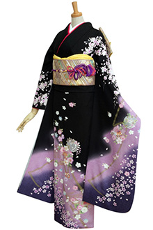 R247 黒紫ぼかし しだれ桜と鞠☆(絹)(S)