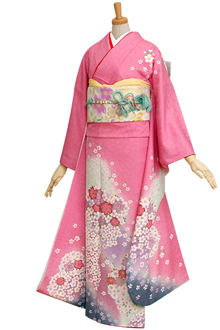R249 【訳あり】ピンク 梅と桜花々の舞☆(絹)