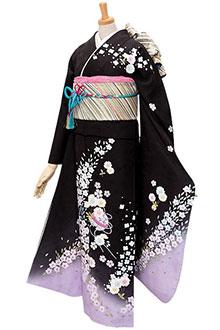 R268 黒紫ぼかし 桜と鈴☆(絹)