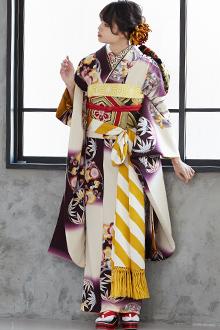 R273 白×紫 四君子花丸文☆