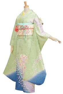 R281 鶸色ブルーぼかし 桜吹雪☆(絹)(S)