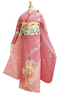 R285 【訳あり】ピンク 桜と花車と宝尽くし☆(絹)(s)