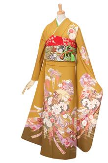 R289 辛子色 熨斗目 花車と雪輪☆(絹)