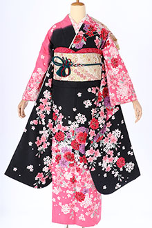 R296 黒 ピンクぼかし 玉桜
