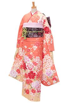 R298 オレンジ 大輪牡丹と菊桜(R354)
