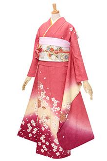 R321 【訳あり】ピンク 雪輪と桜☆(絹)(S)