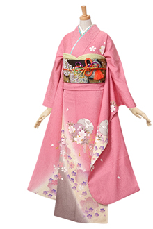 R328 ピンク 雪輪と桜☆(絹)