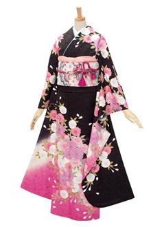 R334 【訳あり】黒 八重桜☆(絹)