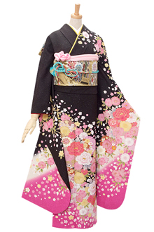 R335 黒・ラメ 桜と牡丹☆(絹)
