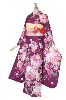 R342 【訳あり】紫 雪輪に薬玉文と蝶