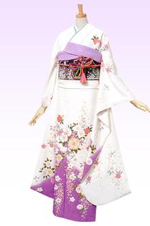 R346 【訳あり】白 桜吹雪と菊☆(絹)