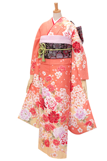 R354 【訳あり】オレンジ 大輪牡丹と菊桜(R298)